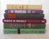 Vintage Mint Green, Purple, Pink, Grey & Silver Book Decor Set