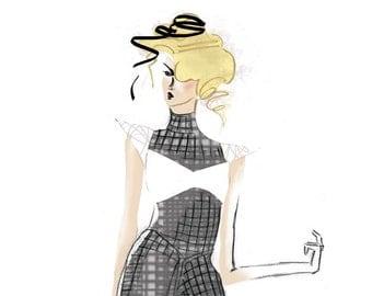 Structured Futuristic Couture Fashion Art Print