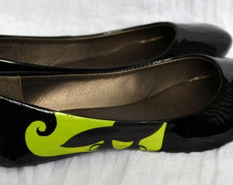 Wicked Ballet Flats Wizard Of Oz Wicked Witch Of The West shoes decoupage.