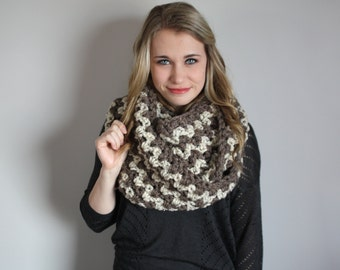 Chunky Infinity Scarf / Brown Beige Two Toned Crochet Scarf / The Victoria Infinity