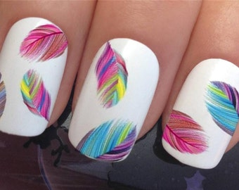 nail decals #619 multi rainbow feathers plumes water transfers stickers manicure art set x20