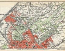 1910 The Hague and Scheveningen, Netherlands (Holland) Antique Map