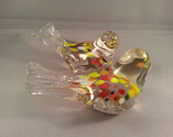 Pair of quirky art glass bird paperweights