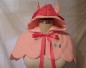 My Little Pony Pinkie Pie Inspired Fleece Lolita Adult Scalloped Edge Cape Hoodie w/ Colorful Mane and Ears