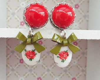Stainless steel tunnel Vintage Love plugs red with flower 10mm 8mm shabby
