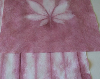 Hand Dyed Fabric - Rose colors - heliographic print plus shibori style fabric