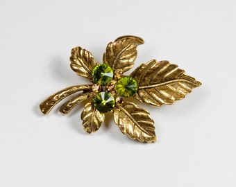 French Vintage Horse Chestnut leaf pin / brooch with emerald and amber coloured stones