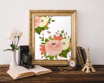 PRINTABLE Art Pink Floral Pink Flowers Floral Art Print Floral Wall Art Nursery Art Print Pink Nursery Wall Art Mustard Floral Print