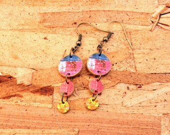 Quilt earrings - Quilt jewelry - Quilter jewelry - patchwork earrings - circle jewelry - pink - red - blue - yellow - blue - shrink plastic