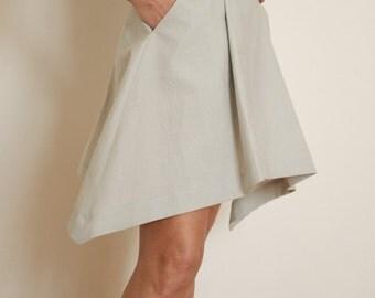Linen Skirt - Pleated Skirt - Linen Womens Clothing - Short Skirt - Miniskirt - A Line Skirt - Large Skirt - Skirt With Pocket - Linen Dress