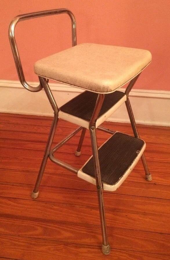 Vintage Cosco Steel White Amp Chrome Metal Step Stool Seat