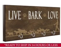 Brown Live Bark Love Dog Leash Holder, Dog Leash Hook, Wall Key Holder, Key Rack, Decorative Key Hook, Brown Home Decor