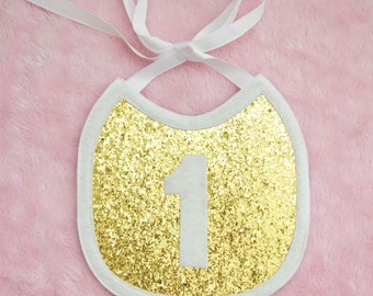 Gold and White First Birthday Bib, Gold Glitter, First Birthday Photo Prop Bib, Baby Bib, Cake Smash Bib, First Birthday Bib, Photo Prop Bib