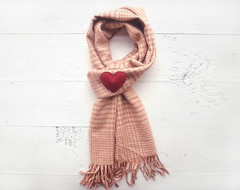 Cotton Scarf, Pied de Poule Scarf, SALE, CHRISTMAS GIFT, Holiday Gift, Heart Brooch, Special Gift, Gift For Her, Hearts, Xmas Gift, Tassels