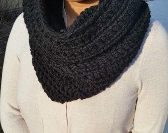 Black Cowl, Black Infinity Scarf, Black Crochet Cowl, Black Crochet Infinity Scarf, Black Loop Scarf, Black Circle Scarf, Crochet Scarf