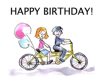 Tandem Bike Birthday Card
