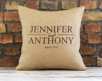 Burlap Custom Pillow Cover, name pillow with est. date, valentine gift, wedding gift, personalized pillow, family name pillow