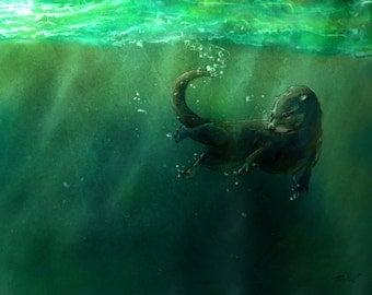 "Undersea Otter - Animal Illustration Print, Otter Illustration, Scottish Art 8x10"" Matte Paper"