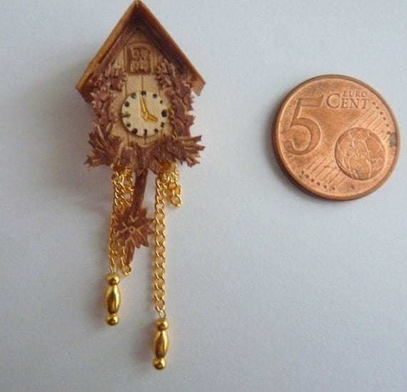 Miniature cuckoo clock wood pendulum and 2 chains by homeofshabby - Cuckoo clock pendulum ...