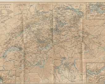 1950 Map of Switzerland