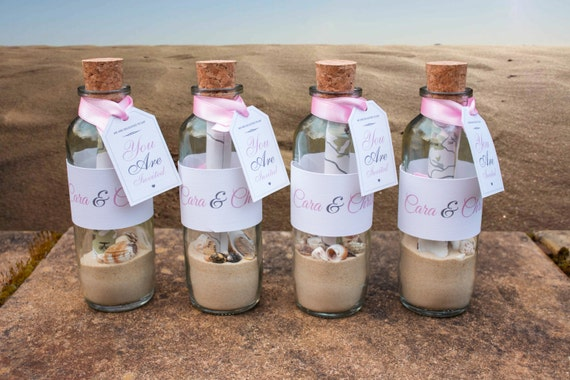 Message In A Bottle Wedding Invitations: Personalised Message In A Bottle Wedding Invites With Glass