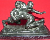 Circa 1920's Beautiful Very Heavy Cast Metal Football Tackle Scene Statue