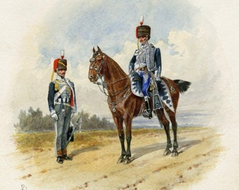 7th Queen's Own Hussars Officers on Horseback 1811 British Watercolor Print Reproduction
