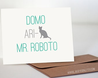 Funny Thank You Card | Domo Arigato Mr. Roboto