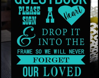 Wedding Guest Book Drop Box Sign Customized With YOUR Wedding Colors - 11X14 Wood Sign