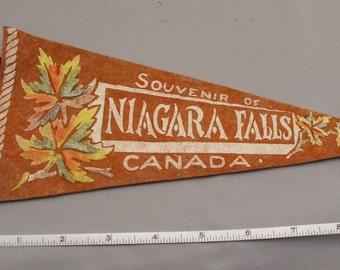 "Vintage Canadian NIAGARA FALLS Souvenir Felt Pennant - 11"" Orange - Circa 1940s"