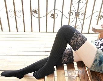 Black Womens Knit Socks Knee Socks Thigh High Socks Boot Socks Lace Socks Weeding Gift Bridesmaid Lace Socks LiLiSocks