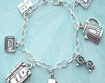 editor / journalist / bookworm charm bracelet-tibetan silver charm bracelet