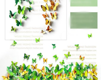 Green and yellow  wall sticker 3D simulation Butterflies Wall sticker ,3D butterflies wall decal- set of 12 various sizes