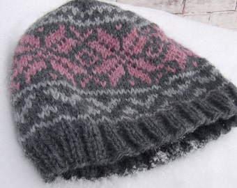 Knitted Norwegian Star Hat, Pink Snowflake Beanie, NORWEGIAN STAR,