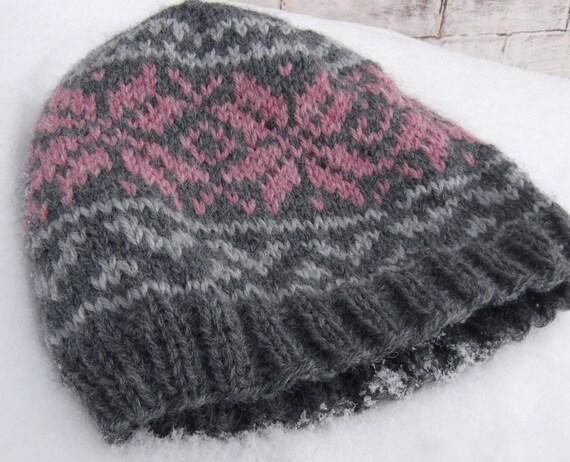 Knitting Pattern For Norwegian Hat : Knitted Norwegian Star Hat Pink Snowflake Beanie NORWEGIAN