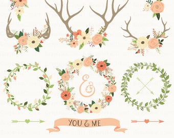 rustic wedding clipart ii wedding clipart floral antlers floral ...