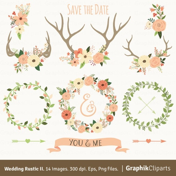 Rustic Wedding Clipart II. WEDDING CLIPART. Floral