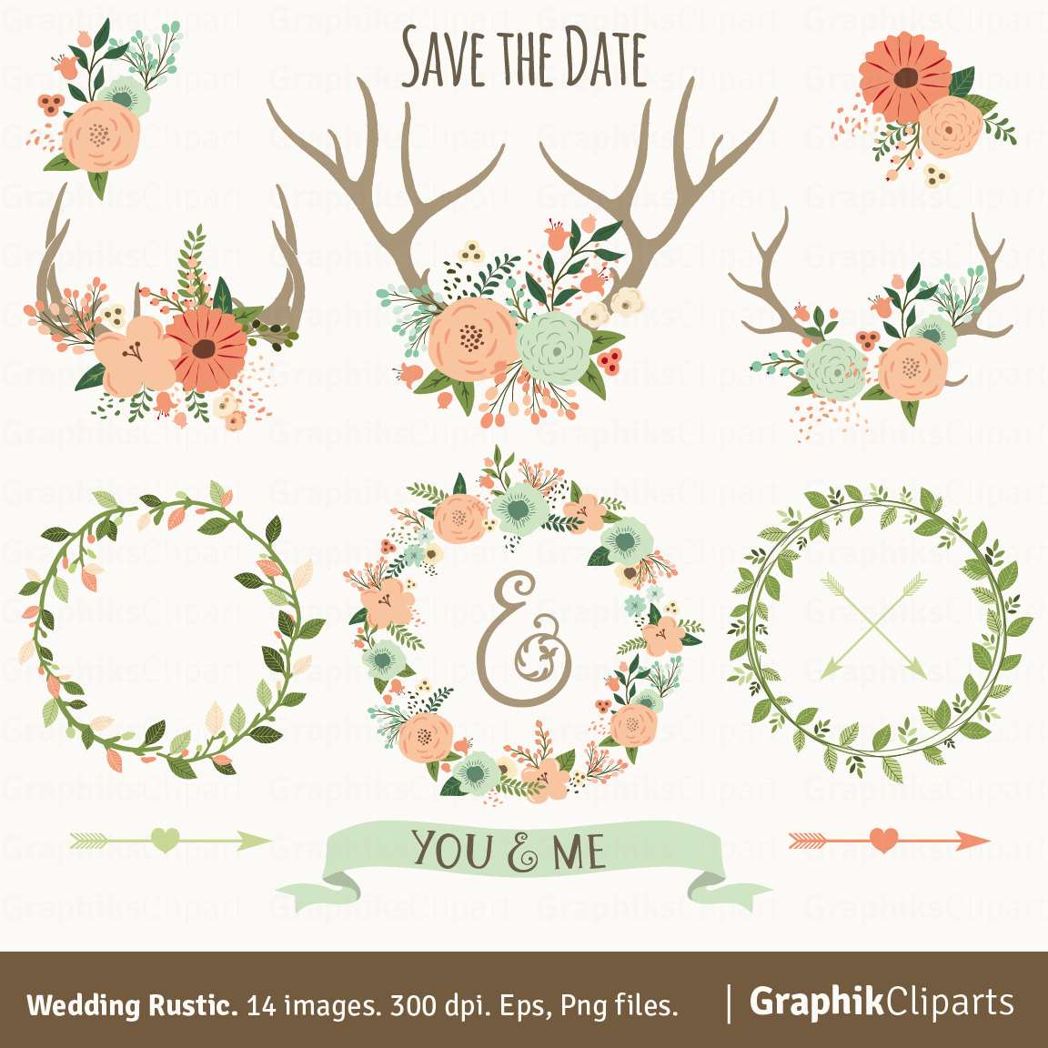 Rustic Wedding Clipart. WEDDING CLIPART. Floral