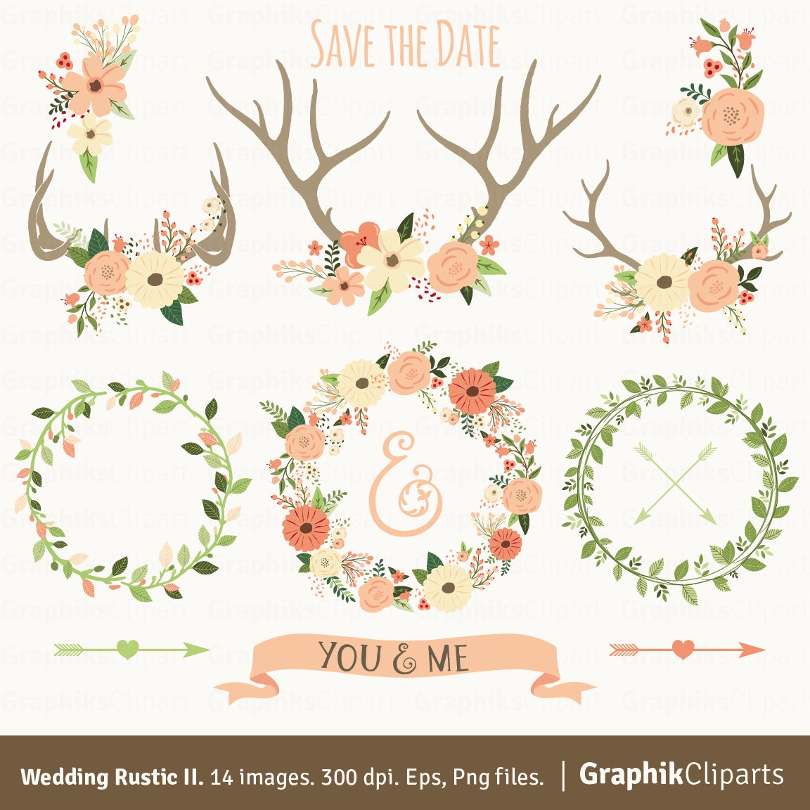 Rustic Wedding Clipart II WEDDING CLIPART Floral