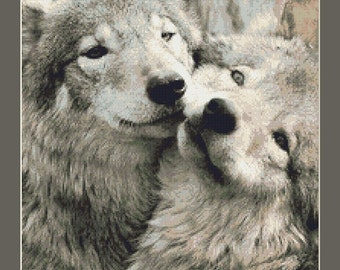 Two Grey Wolves Counted Cross Stitch Pattern in PDF for Instant Download