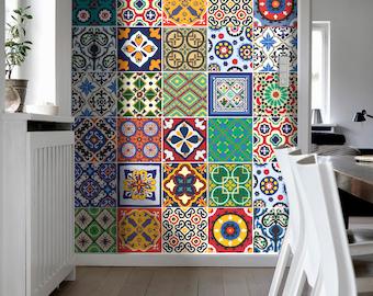 Talavera Tile Stickers - Kitchen Backsplash Tiles - Kitchen splashback - Tradicional Tiles - Tile Decals - 48 - SKU:TALAV