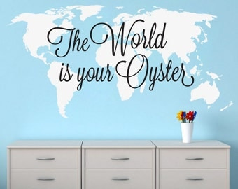 World Map Decal -The World is Your Oyster - Large World Map Vinyl Wall Sticker - World Map Wall Sticker