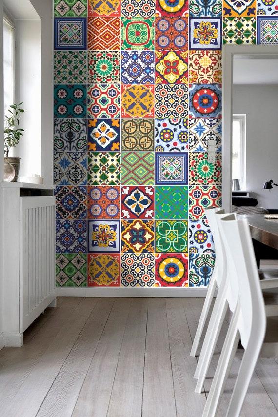Talavera azulejos especial pegatinas vinilo decoraci n para for Mosaicos de azulejos en paredes
