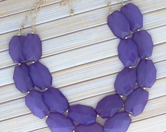 Royal Purple Statement Necklace, Bib Statement Jewelry Necklace, Beaded Purple Big Bold Chunky Necklace, Choice of Silver or Gold Chain