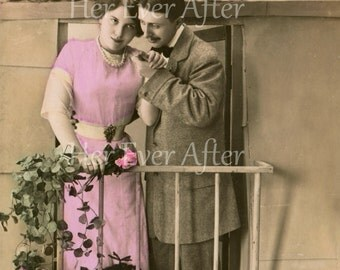 Edwardian love postcard on a balcany in France // Original antique RPPC romance French love postcard // Vintage tinted photo postcard