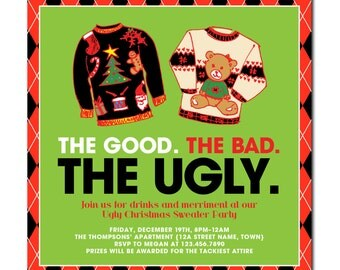 "Ugly Christmas Sweater Party 6"" Square Invitation with hand-drawn sweaters - The Good. The Bad. The Ugly. - Printable and Personalized"
