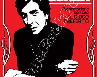 646 - Leonard COHEN - Roma, italy - 15 may 1974  - artistic concert poster