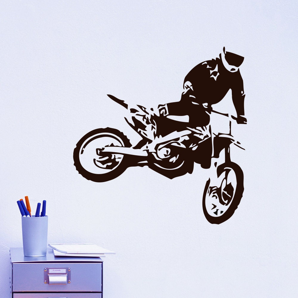 Vinyl wall decals motocross motorcycle moto dirty bike for Dirt bike wall mural