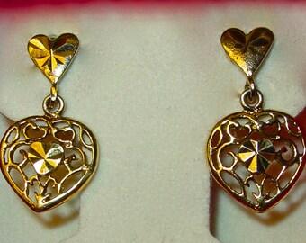 Vintage Heart Earrings.  Gold Over Sterling Silver. Filigree Diamond Cut Heart Earrings. Valentine's day gift