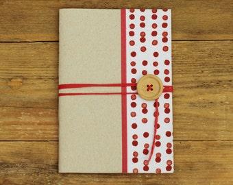 handmade notebook, red dots